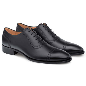 Mezlan Belgrade Black Calfskin Leather Men's Classic Perforated Cap Toe Oxford