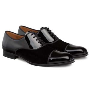 Mezlan Pio Black Patent Leather & Velvet Distinct Cap Toe Formal Lace Up Shoe