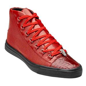 Belvedere Angelo Red Genuine Crocodile & Italian Calf Men's Sneakers