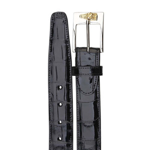 Belvedere Black Genuine Alligator Men's Leather Dress Belt