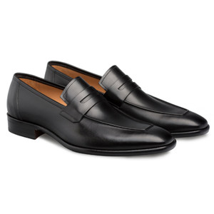 Mezlan Newport Black Calfskin Leather Men's Modern Slip On Penny Loafer