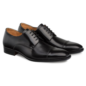 Mezlan Republic Black Calfskin Leather Men's Cap Toe Blucher