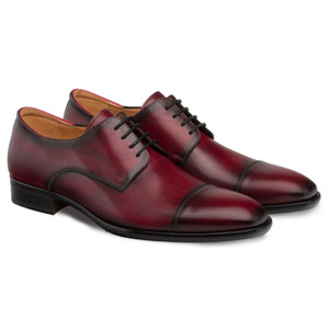 Mezlan Republic Burgundy Calfskin Leather Men's Cap Toe Blucher
