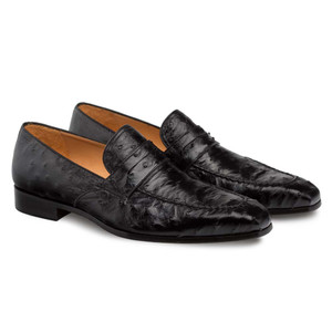 Mezlan Lisbon Black Genuine Ostrich Men's Classic Slip On