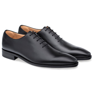 Mezlan Pamplona Black Calfskin Leather Men's Plain Toe Balmoral Shoe
