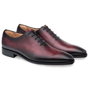 Mezlan Pamplona Burgundy Calfskin Leather Men's Plain Toe Balmoral Shoe