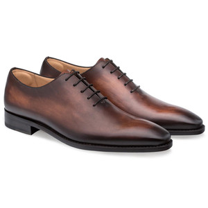 Mezlan Pamplona Cognac Calfskin Leather Men's Plain Toe Balmoral Shoe