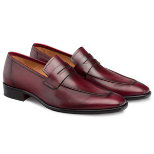 Mezlan Newport Burgundy Calfskin Leather Men's Modern Slip On Penny Loafer