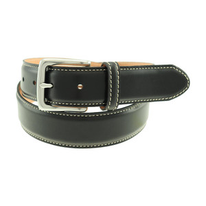T.B. Phelps Colombia Black Waxy Leather Men's Dress Belt