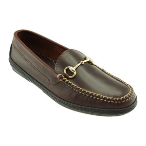 T.B. Phelps Horse Bit Brown Waxy Leather Men's Driver Moccasin