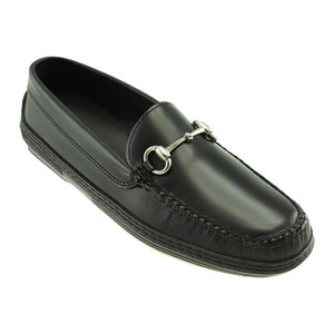 T.B. Phelps Horse Bit Black Waxy Leather Men's Driver Moccasin