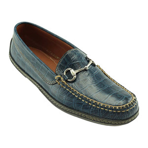 T.B. Phelps Croco Bit Navy Genuine Crocodile Men's Driver Moccasin