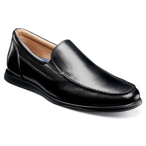 Florsheim Atlantic Black Smooth Leather Men's Moc Toe Venetian Slip On