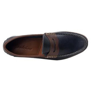 Sandro Moscoloni Braga Navy & Brown Leather Handsewn Men's Moc Toe Slip On Loafer