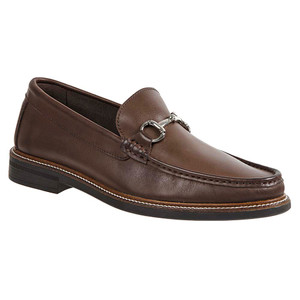 Sandro Moscoloni Lucio Brown Leather Handsewn Ornament Men's Moc Toe Slip On Loafer