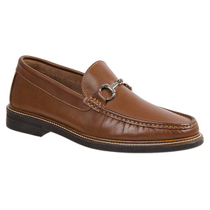 Sandro Moscoloni Lucio Tan Leather Handsewn Ornament Men's Moc Toe Slip On Loafer