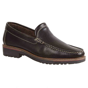 Sandro Moscoloni Neville Brown Leather Venetian Handsewn Men's Moc Toe Slip On Loafer