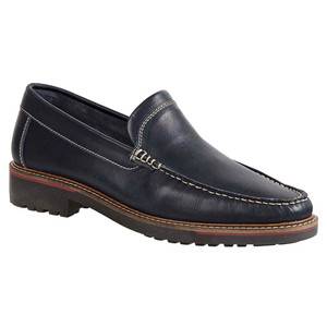 Sandro Moscoloni Neville Navy Leather Venetian Handsewn Men's Moc Toe Slip On Loafer