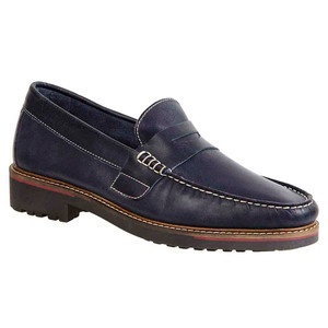Sandro Moscoloni Roland Navy Leather Handsewn Men's Moc Toe Penny Loafer