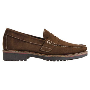 Sandro Moscoloni Roland Snuff Suede Leather Handsewn Men's Moc Toe Penny Loafer