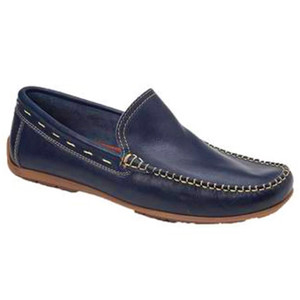 Sandro Moscoloni Sagres Navy Leather Baseball Stitch Men's Moc Toe Loafers