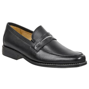 Sandro Moscoloni Basil Black Leather Men's Moc Toe Double Gore Penny Loafer