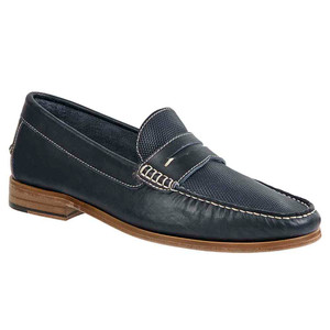 Sandro Moscoloni Jeromy Navy Leather Handsewn Men's Moc Toe Slip On Loafers