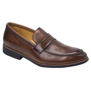 Sandro Moscoloni Mundo Brown Leather Men's Italian Finish Moc Toe Penny Loafer