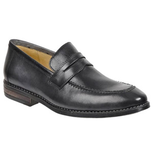 Sandro Moscoloni Mundo Dark Grey Leather Men's Italian Finish Moc Toe Penny Loafer