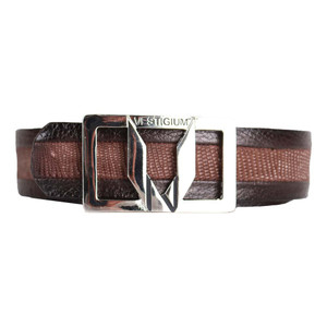 Vestigium Sanded Brown Genuine Teju Lizard & Calf Leather Men's Dress Belt