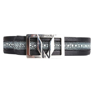 Vestigium Black Genuine Stingray & Calf Leather Men's Dress Belt