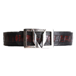 Vestigium Black & Cherry Genuine Caiman Belly & Calf Leather Dress Belt with Silver Buckle
