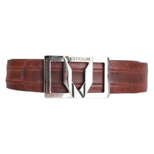 Vestigium Walnut Genuine Leather Men's Belt with Silver Metal Buckle