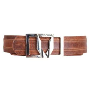 Vestigium Honey Genuine Leather Men's Belt with Silver Metal Buckle