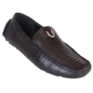Vestigium Black & Cherry Genuine Ostrich Leg Men's Handcrafted Loafers
