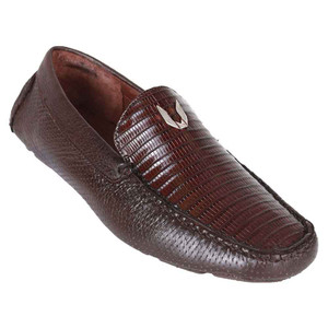 Vestigium Brown Genuine Teju Lizard & Calf Leather Men's Handcrafted Loafers