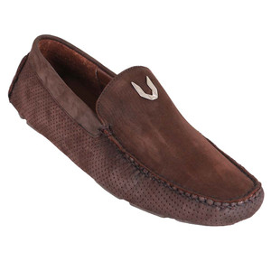 Vestigium Tobacco Genuine Nubuck Leather Men's Handcrafted Loafers