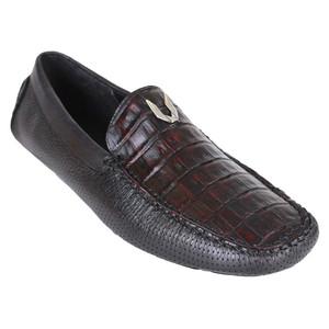 Vestigium Black & Cherry Genuine Ostrich Men's Handcrafted Loafers