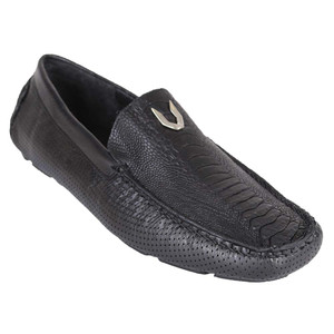 Vestigium Black Grasso Genuine Ostrich Leg Men's Handcrafted Loafers