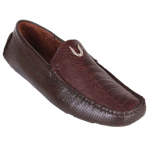 Vestigium Brown Grasso Genuine Ostrich Leg Men's Handcrafted Loafers