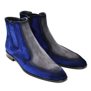 Corrente Navy & Grey Suede Dual Tone Men's Zipped Boot