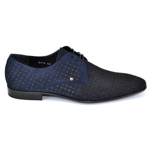 Corrente Navy Blue Perforated Suede Men's Lace Up Shoes
