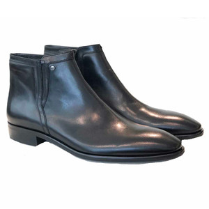 Corrente Black Leather Side Zipper Men's Boot
