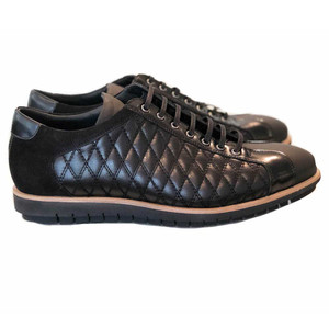 Corrente Black Leather Men's Fashion Sneakers