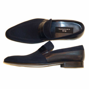 Corrente Navy Suede & Leather Men's Slip On Loafers