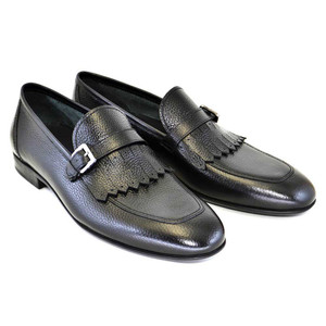 Corrente Black Leather Buckle Men's Slip On Kiltie Loafer