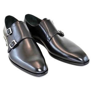 Corrente Black Leather Men's Plain Toe Double Monk Strap Dress Shoes