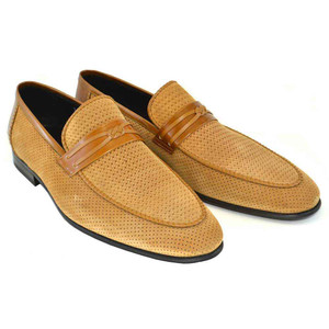 Corrente Tan Perforated Suede Leather Men's Slip On Loafers
