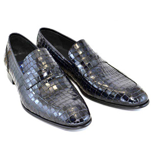 Corrente Black Leather Crocpdile Print Men's Slip On Loafer
