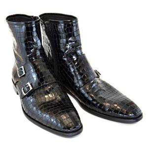Corrente Black Leather Crocodile Print Men's Double Buckle Zipper Boot